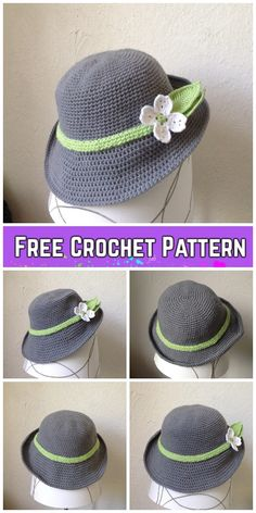 Spring Hat Crochet Free Pattern Spring Hat Crochet Free Pattern Learn the fact (generic term) of how Crochet Flower Hat, Crochet Hat With Brim, Crochet Adult Hat, Crochet Summer Hats, Crochet Patron, Bag Crochet, Crochet Beanie, Crochet Crafts, Crochet Clothes
