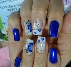 54 Ideas For Nails Spring Colors Blue Flowers Cute Nail Colors, Spring Nail Colors, Spring Nails, Blue Nails, My Nails, Gel Nail Art, Acrylic Nails, Trendy Nail Art, Super Nails
