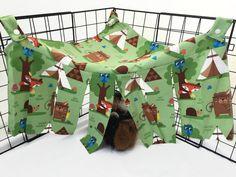 Guinea pig hideout, guinea pig tent, corner hideout, corner curtain, pet hideout, fleece forest, hiding spot, fleece cage accessory by CreatedbyLauraB on Etsy