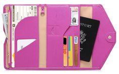 Zoppen Mulit-purpose Rfid Blocking Travel Passport Wallet (Ver.4) Trifold Document Organizer Holder, Lilac Purple