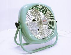 Vintage Shabby Chic Blue Metal Fan