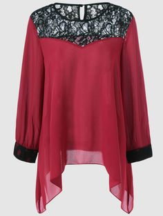 Plus Size Asymmetrical Lace Splicing Blouse