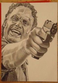 Original pencil ACEO sketch card.RICK GRIMES THE WALKING DEAD