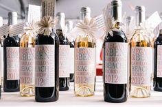 Wine bottle favors with a modern, custom label | Photo by Dear Wesleyann via Floridian Weddings