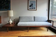 mid century teak daybed with built in side table