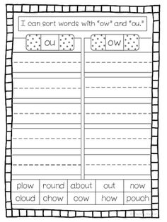 ou / ow Phonics Printables (No Prep) FREE ou / ow Phonics Worksheets First Grade Words, First Grade Phonics, First Grade Worksheets, Phonics Worksheets, First Grade Classroom, Phonics Activities, Phonics Reading, Teaching Phonics, Kindergarten Reading