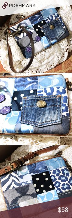 Coach Patchwork Denim Pocket Shoulder Bag LIKE NEW Never used, no tags. Patchwork denim shoulder bag. Front features a denim-jeans pocket with button. No pockets inside.   Size: 6 Inches by 8 Inches Strap: 11 inches (can be adjusted to be shorter) Coach Bags Mini Bags