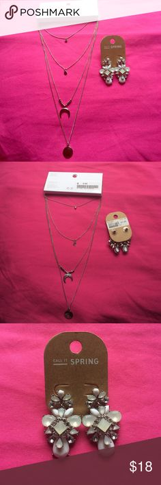 Call it spring ,h&m jewelry, ring Silver necklace from H&M and sliver &white earring from call it spring, and ring from madrag.This is a lot so nothing would be sold separately. H&M Jewelry Earrings
