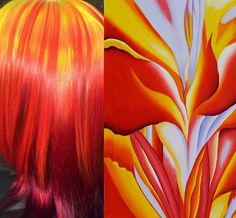 Georgia O'Keeffe inspired hair color - Red Canna Lilies