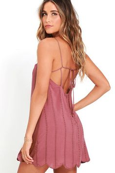 Country Road Mauve Embroidered Dress at Lulus.com!