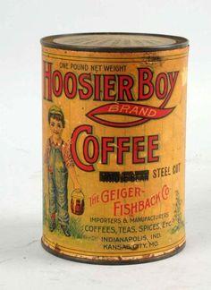 Porción # : 182 - Hoosier Boy Coffee Tin.