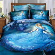 2015 Hot sale 3d princess bedcover Cinderella bedding sets 500TC queen king size Duvet cover without Comforter 4pcs bed set Blue. email:july3633@gmail.com mobile:+86 13518082615
