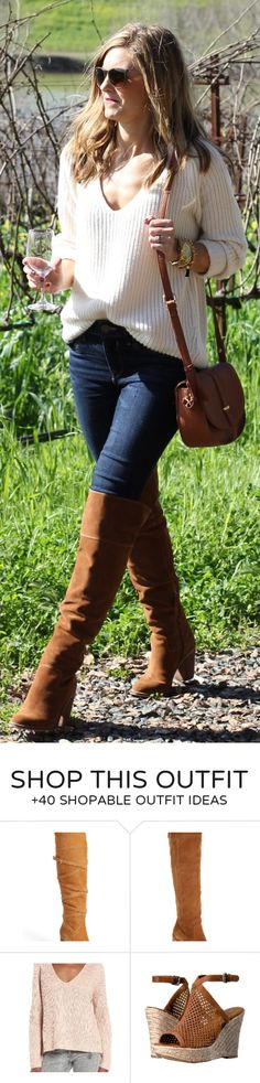 #cute #outfits White Knit / Navy Skinny Jeans / Brown OTK Boots