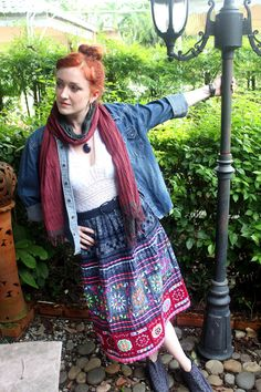 Womens Ethnic Skirt Burgundy Hmong Embroidery Dark Indigo Batik and Colorful Applique
