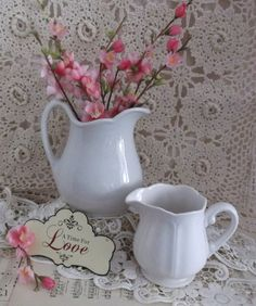 Vintage White Ceramic Pitchers Collection by happenstanceNwhimsy