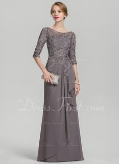 A-Line/Princess Scoop Neck Floor-Length Chiffon Lace Mother of the Bride Dress With Cascading Ruffles – Mother of the Bride Dresses – DressFirst Mother Of The Bride Dresses Long, Mothers Dresses, Mom Dress, Lace Dress, Chiffon Dress, Formal Evening Dresses, Evening Gowns, Wedding Party Dresses, Bridesmaid Dresses
