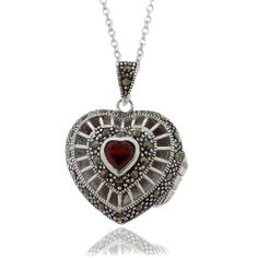 Dolce Giavonna Silver Overlay Garnet and Marcasite Heart Locket Necklace | Overstock.com Shopping - The Best Deals on Lockets