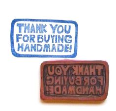 Thank You For Buying Handmade large hand carved rubber stamp