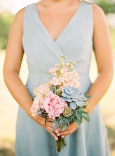 pink and green bridesmaid bouquet with peonies and succulents | photo: ryanrayphoto.com
