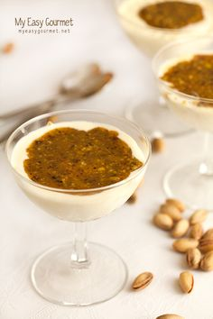 Mastic Panna Cotta with pistachio-honey syrup. An Italian classic with a Greek twist. Sweet Breakfast, Breakfast Recipes, Panna Cotta, Honey Syrup, Pistachio, Peanut Butter, Sweet Tooth, Appetizers, Snacks