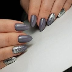 Two tone nails are very popular nowadays. You must have seen many models and celebrities show off beautiful manicured nails with the coolest two tone nail designs on them. As the name suggests, two tone nails art means that the wearer uses two differ Nail Polish, Shellac Nails, Pink Nails, My Nails, Grey Gel Nails, Grey Nail Art, Grey Acrylic Nails, Black Nails, Gel Manicures