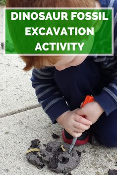 Dinosaur Fossil Excavation Activity. Kids will love this fun science activity about dinosaurs, dinosaur fossils, dinosaur fossil excavation and paleontologists. Excellent activity for dinosaur theme lessons. #preschool #kids #activities