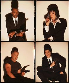 Samuel L Jackson, Uma Thurman, Bruce Willis and John Travolta in Pulp Fiction Mia Wallace, Quentin Tarantino, Tarantino Films, Iconic Movies, Classic Movies, Good Movies, Latest Movies, Pulp Fiction Cast, Pulp Fiction