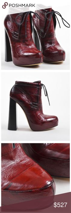 """Alexander Wang Burgundy Leather Tower HeelBoots Perfect for the autumn season, this boot hits at the ankle and features a stacked tower heel, an exotic eel construction, a concealed platform, and a drawstring fastening at the shaft. Abstract print. Tonal stitching. New without box.......scuff marks at right outsole. Some scratching and ghosting at outsoles,  other visible signs of trying on. NWOT Burgundy Red, Black  Fabric Eel Leather; Insole: Leather /Outsole  12.5"""" Outsole Width: 3.125""""…"""