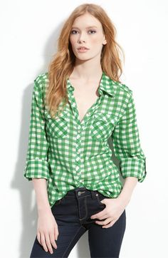 Gibson Gingham Check Western Pocket Shirt