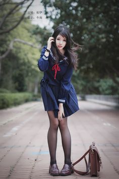 Save = follow me #KỳAnh School Girl Japan, School Girl Outfit, School Uniform Girls, Girls Uniforms, Japan Girl, Asian Fashion, Girl Fashion, Fashion Outfits, Cute Asian Girls
