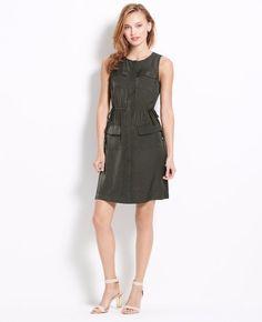 77b62cae48f  139 Ann Taylor Woodland Green Satin Drawstring Side Tie Shirt Dress 0 NEW  A767  AnnTaylor