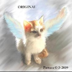 Angel Kitty Cross Stitch Pattern Cats Fantasy ~BGB~  This looks almost EXACTALLY like My SNOWY :(  I miss him so much.... This is how I imagine he is now, in heaven with his wings.