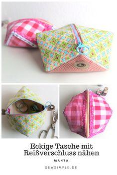 Näh dir eine eckige Tasche mit Reißverschluss! Ganz ohne Schnittmuster. Du kannst die Tasche prima mit der Nähmaschine aber auch toll mit der Hand nähen. Die Form nennt man übrigens Biscornu.