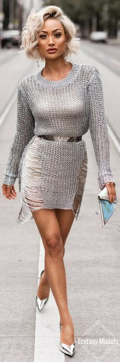 Silver Knit Tunic from @hotmiamistyles // Fashion Look by Micah Gianneli