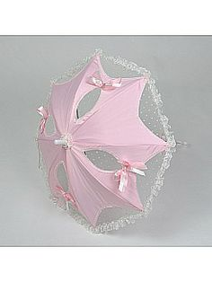 Pink and Ivory Satin and Lace Wedding Umbrella with Bowknot - USD $27.99
