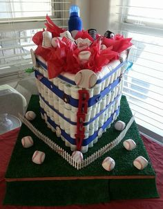 My 1st Diaper Cake. Shaped like a Baseball Diamond.