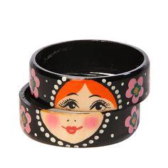 Wooden hand painted Russian matryoshka bracelet Two bracelet pieces Diameter approx. Bohemian Girls, My Beautiful Friend, Folk, Matryoshka Doll, Viking Jewelry, Russian Art, Fabric Dolls, Diy Fashion, Fashion Ideas