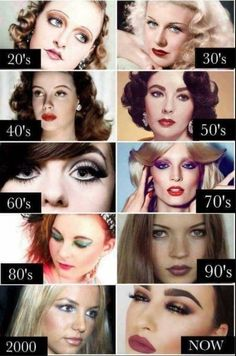 Make up through the decades Hair & Make Up in 2019 beauty trends throughout the years - Beauty Trends 2019 Makeup Trends, Makeup Inspo, Makeup Inspiration, Makeup Tips, Beauty Makeup, Eye Makeup, Hair Makeup, Beauty Trends, Eyebrow Trends