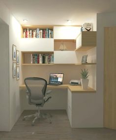 Estudio – diy projects cool – Top Arbeitszimmer – Home office design layout Study Table Designs, Study Room Design, Home Office Design, Home Office Decor, House Design, Home Decor, Small Home Offices, Office Nook, Bedroom Desk
