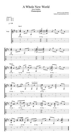 A Whole New World TAB - fingerstyle classical guitar tab (PDF + Guitar Pro) Guitar Tabs Acoustic, Guitar Chords And Lyrics, Guitar Chords For Songs, Acoustic Guitar Lessons, Violin Lessons, Ukulele, Sheet Music Pdf, Guitar Sheet Music, Piano Sheet