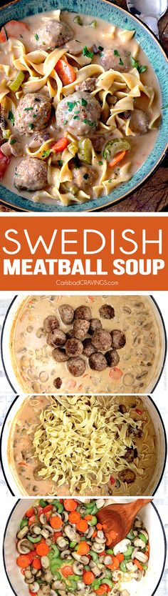 Swedish Meatball Soup - my favorite way to eat Swedish meatballs and this meal goes from meatballs to soup in a flash with the most tender, flavorful meatballs in a luscious creamy brown gravy broth swirled with sour cream- AH-mazing! Beef Recipes, Soup Recipes, Dinner Recipes, Cooking Recipes, Korean Recipes, Quick Recipes, Italian Recipes, Recipies, Swedish Meatball