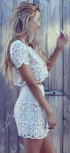 White Lace Two Piece Set                                                                             Source