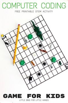 Algorithm coding game for kids. Free printable screen-free computer coding activity for kids in preschool, kindergarten, and early elementary school.