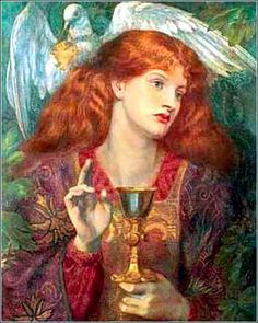 """""""The Damsel of the Holy Grail"""" by Dante Gabriel Rossetti, ca. The woman is almost surely Mary Magdelene, a woman much loved by the Preraphaelites. She is traditionally depicted with long red hair. Dante Gabriel Rossetti, Norse Legend, Marie Madeleine, Pre Raphaelite Brotherhood, Images Of Mary, Old Irish, Morris, Mary Magdalene, Impressionist Art"""