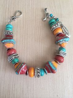 Beautiful big and chunky Lampwork bracelet- Western style