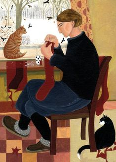 Making Christmas Stockings - Dee Nickerson British painter Contemporary art. Looks more like she is mending them though! Illustrations, Illustration Art, She And Her Cat, Tricot D'art, Knit Art, Poster S, Naive Art, I Love Cats, Fiber Art
