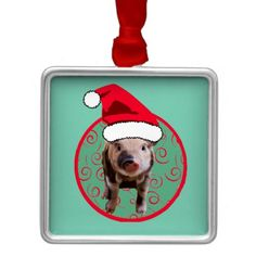 Cute Pig Santa - Teal and Red Christmas Ornament (comes on many items) #piglove #pigchristmas #lovepigs #christmaspig #sweetnsourgrits