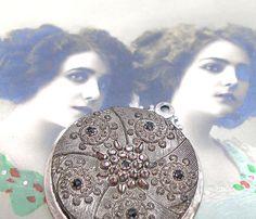 LACY Antique BUTTON pendant of Victorian black glass.