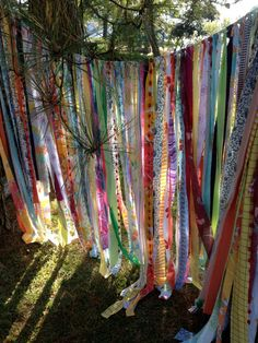 Gypsy Boho Curtain or Garden Shade - Materials: vintage, sheer, rag, ribbon, upholstery, tattered lace, repurposed linen, lace etc.