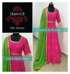 For details and colour customisation  please call/watsapp on +91-9177363970 or email to aamrabylavanya@gmail.com aamrabylavanya  aamrabylavanyacollection  bandhini  mirrorwork  pinkandgreen  colourful  indianpartywear  14 December 2016